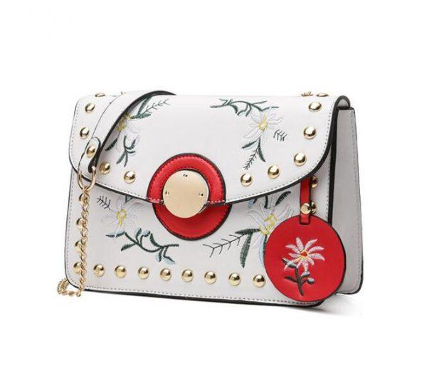 237d5c7324 Dámska mini kožená kabelka s vyšívaním v bielej farbe - Kožená ...