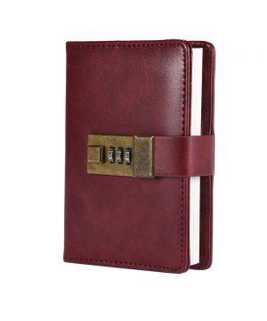 Kožený zápisník s otváraním na heslový zámok v bordovej farbe