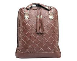 Luxusný kožený ruksak z pravej hovädzej kože so strapcami v hnedej farbe (1)