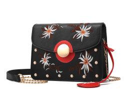 Originálna mini kožená kabelka s vyšívaním v čiernej farbe