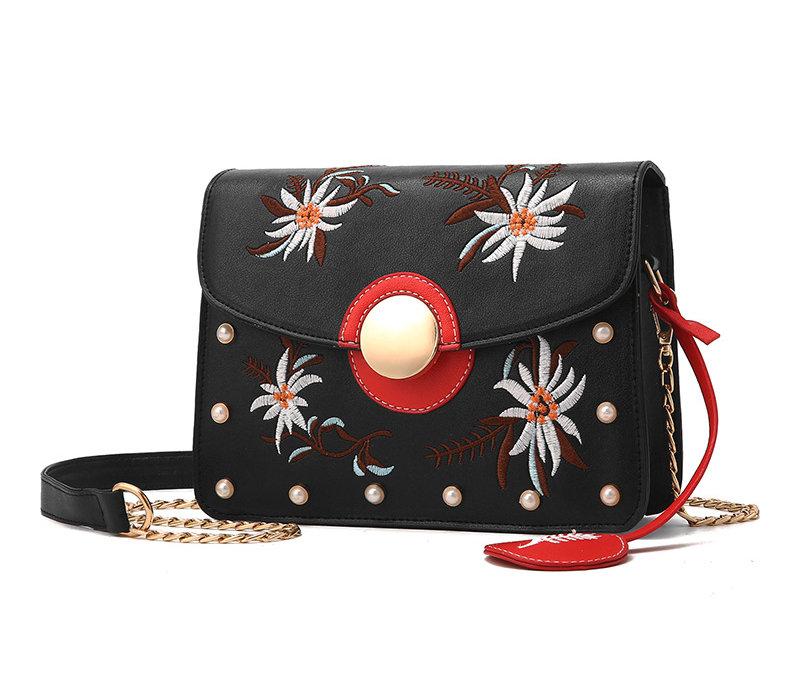 68dadf6822 Originálna mini kožená kabelka s vyšívaním v čiernej farbe - Kožená ...