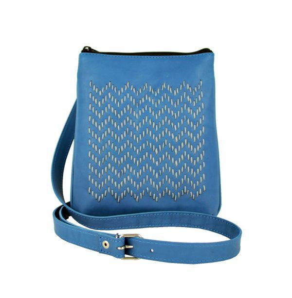 Ručne vyšívaná kabelka z pravej kože v modrej farbe (4)