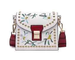 Vyšívaná kožená kabelka s popruhom v bielej farbe (3)