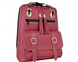 prirodný batoh, na turistika, do mesta, pravá koža, bordová a červená farba,dámsky ruksak, štýlový módny doplnok z kože, prirodná useň a koža, handmade ruksačik (3)