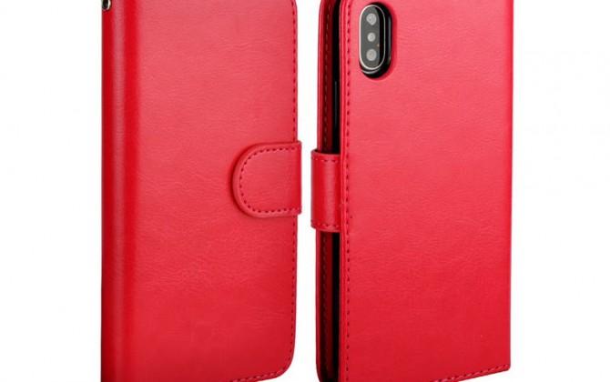 Magnetický univerzálny obal pre iPhone X z kože, červený