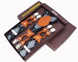 Kožené traky pre pánov, 6 klipov, Svetlo hnedá koža, šedé pruhované (2)