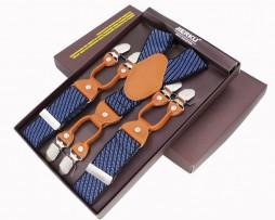 Kožené traky pre pánov, 6 klipov, Svetlo hnedá koža, modré pruhované