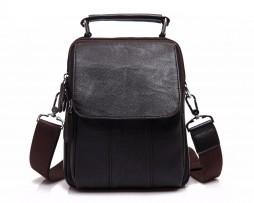 Módna taška cez rameno s držadlom v tmavo hnedej farbe