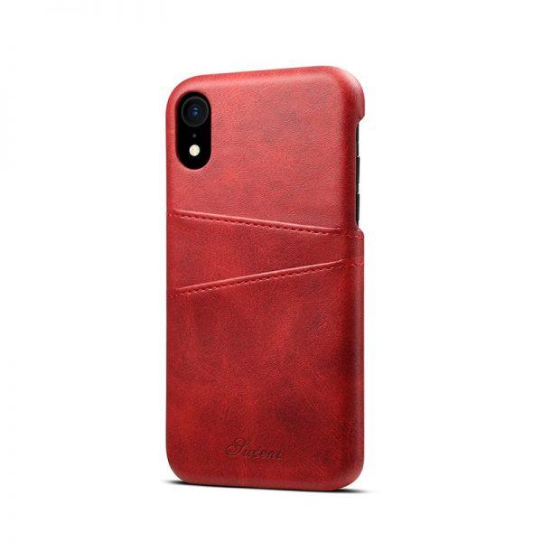 Kožený kryt pre iPhone XS MAX s púzdrom na karty, červená farba