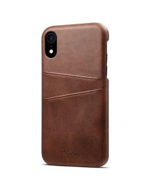 Kožený kryt pre iPhone XS MAX s púzdrom na karty, hnedá farba