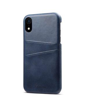 Kožený kryt pre iPhone XS MAX s púzdrom na karty, modrá farba