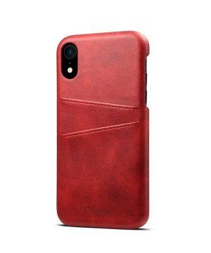 Kožený kryt pre iPhone XS s púzdrom na karty, červená farba (3)