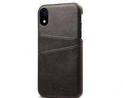 Kožený kryt pre iPhone XS s púzdrom na karty, čierna farba