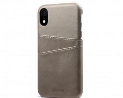 Kožený kryt pre iPhone XS s púzdrom na karty, šedá farba