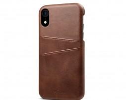Kožený kryt pre iPhone XS s púzdrom na karty, hnedá farba