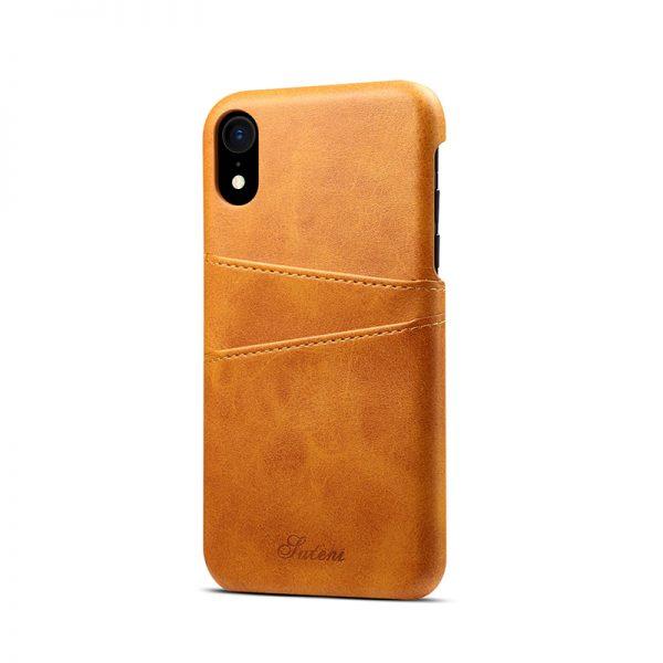 Kožený kryt pre iPhone XS s púzdrom na karty, khaki farba