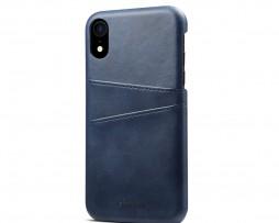 Kožený kryt pre iPhone XS s púzdrom na karty, modrá farba