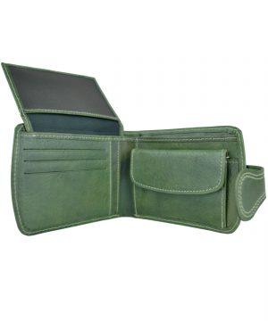 Elegantná kožená peňaženka č.8467 v zelenej farbe, ručne tamponovaná (5)