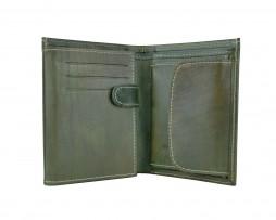 Kožená pánska peňaženka v tmavo zelenej farbe, ručne tieňovaná (1)