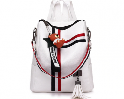 Retro štýlový dámsky ruksak s príveskom macíka v bielej farbe (2)