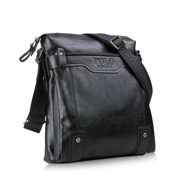 Kožená luxusná unisex taška cez rameno POLO v čiernej farbe
