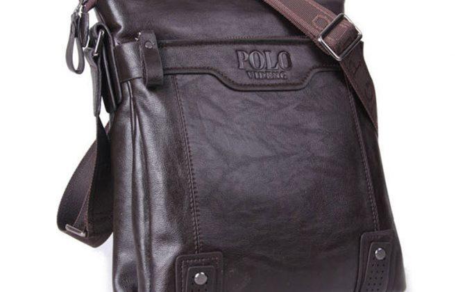 Kožená luxusná unisex taška cez rameno POLO v tmavo hnedej farbe
