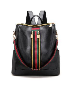 Luxusný ruksak s mnohými vreckami v retro dizajne v čiernej farbe (1)