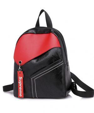 Moderný ruksak z kože v čierno červenej farbe (1)