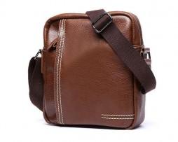 Pánska štýlová kožená taška cez plece v hnedej farbe (4)