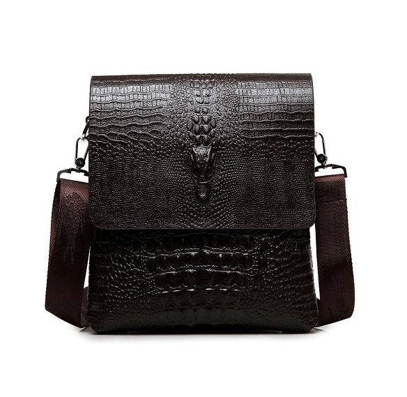 Pánska kožená taška cez rameno v v lesklej tmavo hnedej farbe