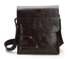 Pánska kvalitná kožená taška POLO cez plece v tmavo hnedej farbe