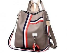 Ruksak s možnosťou využitia ako kabelky v khaki farbe (4)
