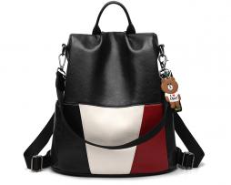 Ruksak s možnosťou využitia ako tašky s macíkom v čiernej farbe (2)