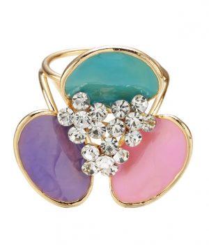 Elegantná ozdobná brošňa pre šatky v tvare farebnej kvetiny (2)