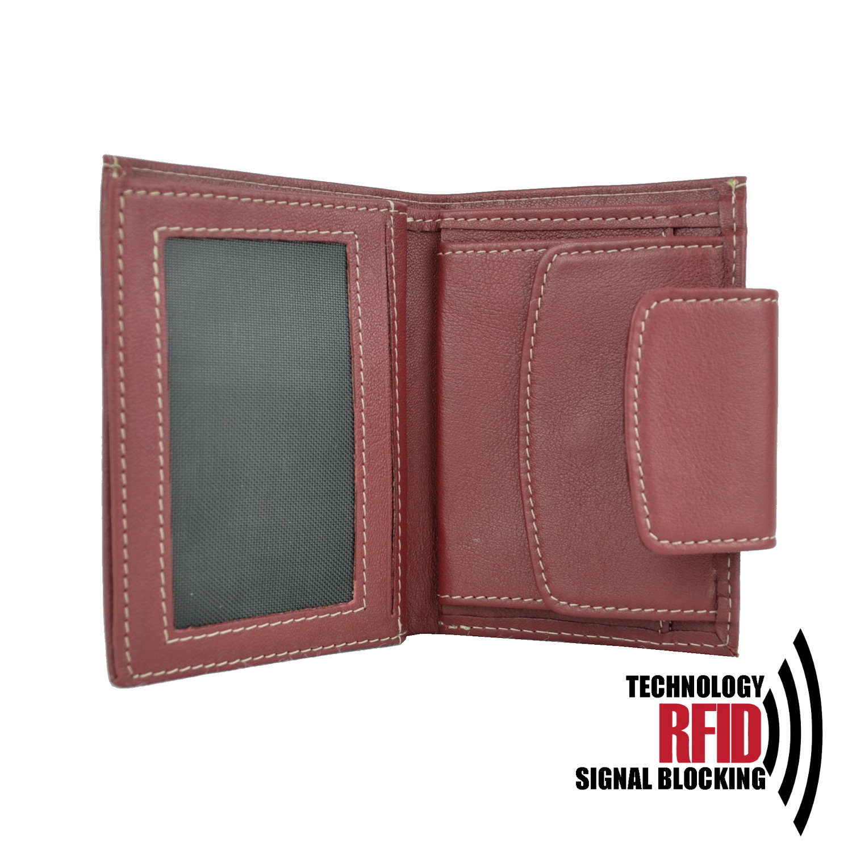 1ece49195 Kožená RFID peňaženka v červenej farbe č.8211 - Kožená galantéria ...