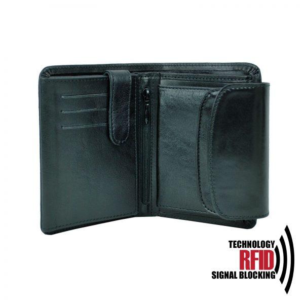 Kožená RFID peňaženka v čiernej farbe č (3)