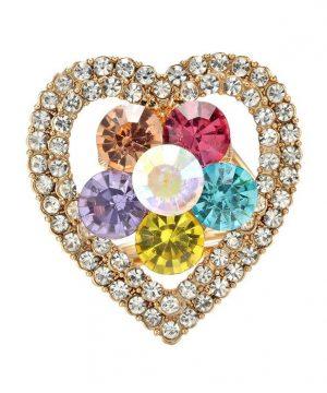 Krásny ozdobný šperk na šatku v tvare kryštálového srdiečka (2)