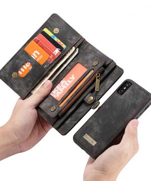 Peňaženka a magnetický obal na iPhone XR v čiernej farbe (4)