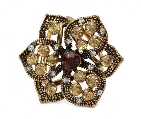 Retro ozdobná brošňa pre šatky v tvare kvetiny, staro zlatá farba (1)