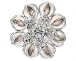 Romantický ozdobný šperk na šatku v tvare strieborného kvetu