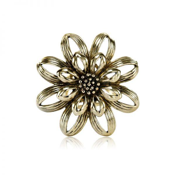 Ozdobná brošňa pre šatky v tvare retro kvetu, staro zlatá farba