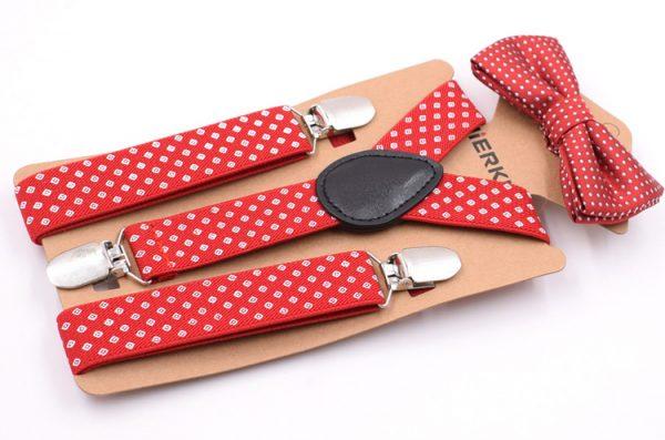 Detské módne traky s motýlikom s bodkami v červenej farbe
