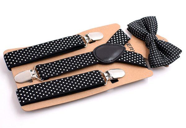 Detské módne traky s motýlikom s bodkami v čiernej farbe