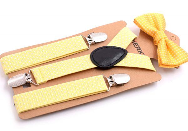 Detské módne traky s motýlikom s bodkami v žltej farbe