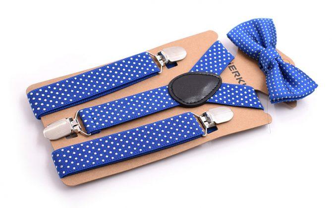 Detské módne traky s motýlikom s bodkami v tmavo modrej farbe