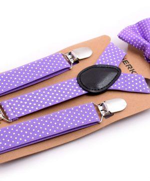Detské módne traky s motýlikom s bodkami vo fialovej farbe