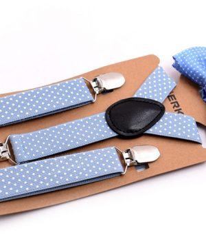 Detské módne traky s motýlikom s bodkami vo svetlo modrej farbe