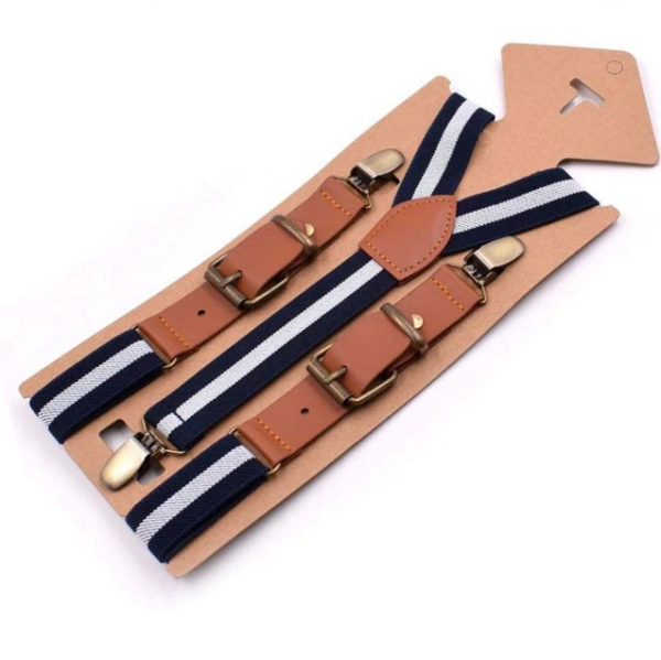Retro detské nastaviteľné traky s elastickým pásom, tmavo modré s bielym pásikom