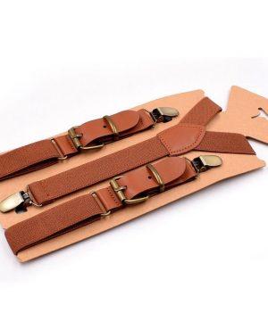 Retro detské nastaviteľné traky s elastickým pásom v hnedej farbe