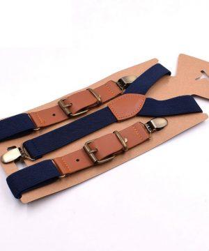 Retro detské nastaviteľné traky s elastickým pásom v tmavo modrej farbe
